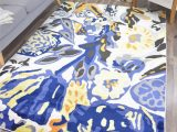 Blue and Yellow Throw Rugs Vizcaino Pearl Contemporary Floral Yellow Blue Black area Rug