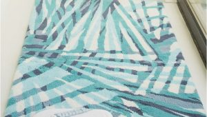 Blue Bath towels and Rugs Eden Bath Mat by Abyss & Habidecor Teal Geometric Design