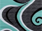 Blue Black and Grey Rug Turquoise Swirls 5×7 area Rug Modern Contemporary Abstract