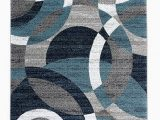 Blue Brown Circle area Rug Blue Gray White Circles soft area Rug – Modern Rugs and Decor