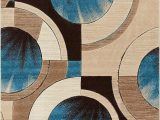 """Blue Brown Circle area Rug Well Woven Blue Yolo Modern Abstract Geometric 3 11"""" X 5 3"""" area Rug"""