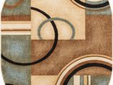 Blue Brown Circle area Rug Well Woven Deco Rings Red Ivory Light Blue Geometric Modern Casual area Rug Easy to Clean Stain Fade Resistant Shed Free Abstract Contemporary Color