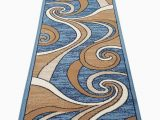 Blue Brown Rug Contemporary Bellagio Modern Long Contemporary Runner area Rug Blue Swirl Design 144 32 Inch X 15 Feet 10 Inch