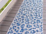 Blue Cheetah Print Rug Unique Loom Outdoor Safari Collection Leopard Animal Print Transitional Indoor and Outdoor Flatweave Blue Runner Rug 2 0 X 6 0