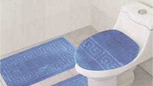 Blue Contour Bath Rug 3 Piece Bath Rug Set Pattern Bathroom Rug 20×32 Large Contour Mat 20×20 with Lid Cover Sky Blue