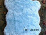 "Blue Faux Sheepskin Rug 30 X 50"" Faux Fur Rug Baby Sky Light Blue Sheepskin area"