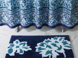 Blue Floral Bath Rug Cloud Vine Rectangle Cotton Non Slip Floral Bath Rug