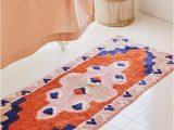 Blue Floral Bath Rug Geo Runner Bath Mat