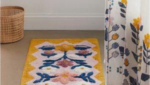 Blue Floral Bath Rug Molly Folk Floral Bath Mat