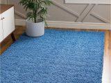 Blue Fuzzy area Rug 4 X 6 solid Shag Rug