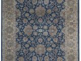 """Blue Gold area Rug E Of A Kind King Hand Knotted Blue Gold 9 2"""" X 11 10"""" Wool area Rug"""