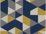 Blue Gray Yellow area Rug Joan Joan 6087 Navy Blue Yellow Gray Contemporary Rug
