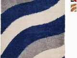 Blue Grey Shaggy Rug soft Shag area Rug 5×7 Geometric Striped Ivory Blue Grey Shaggy Rug Contemporary area Rugs for Living Room Bedroom Kitchen Decorative Modern Shaggy