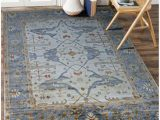 Blue Hand Knotted Wool Rug Aldo Persian Traditional Floral Blue Hand Knotted Wool Rug 4 X 6