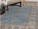 Blue Hand Knotted Wool Rug Amadeo Persian Traditional Floral Blue Hand Knotted Wool Rug 10 X 10