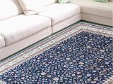 Blue Hand Knotted Wool Rug Pictorial Blue Handknotted Wool Rug