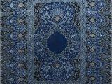 Blue Hand Knotted Wool Rug Qm 401 Medium Cobalt Me Val Blue