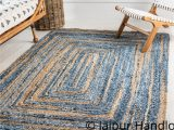 Blue Jute area Rug Indian Casual Handmade Braided Blue Color Denim and Jute area Rugs 4×6 Ft