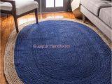 Blue Jute Rug Round 4 X 6 Feet Hand Braided Navy Blue Jute Rag Rugs Living