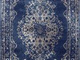 Blue oriental area Rug Dara Rugs 3931 Dark Blue oriental 5 X 7 area Rug Carpet