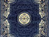 Blue oriental area Rug Traditional Persian oriental area Rug Dark Navy Blue Beige Carpet King Design 101 8 Feet X 10 Feet 6 Inch