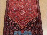Blue oriental Rug Runner 4 X 11 Persian Bijar Tribal Hand Knotted Wool Red Navy Blue