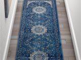 Blue oriental Rug Runner Djemila Medallion Blue Vintage Persian Floral oriental area Rug Runner Distressed Modern Thick soft Plush