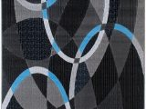 Blue Pattern area Rug Blue Grey Silver Black Abstract Contemporary Modern Design
