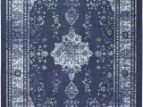 Blue Pattern area Rug Pippin oriental Looped Hooked Blue area Rug