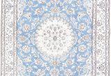 Blue Persian area Rug Floral Medallion Light Blue 5×8 Nain Persian area Rug