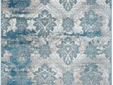 Blue Print area Rugs Antep Rugs Bosporus Collection Autumn Print area Rug Dark Blue Beige