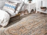Blue Ridge Braided Rugs Boardwalk Hand Braided Twined Jute and Denim Blue Rug