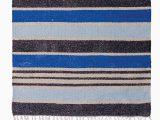Blue Stripe Cotton Rug Blue Striped Recycled Cotton Rug 75 X 135cm Mena Blue