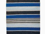 Blue Stripe Cotton Rug Blue Striped Recycled Cotton Rug 75 X 240cm Mena Blue