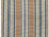 Blue Stripe Cotton Rug Heron Stripe Handwoven Flatweave Cotton Blue Sand area Rug