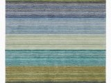 Blue Striped Wool Rug Brushstroke Striped Handmade Tufted Wool Multiple Color area Rug