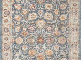 """Blue Transitional area Rugs Ill710m Color Blue Creme Size 2 3"""" X 8"""