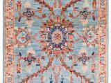 Blue Wool Runner Rug Mughal Ve Able Dyed Light Blue Wool Short Runner Rug