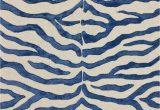 Blue Zebra Print Rug Safari Contemporary Zebra Print with Faux Silk Highlights