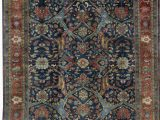 """Bridgeport Light Blue area Rug E Of A Kind Mahal Antique Hand Knotted 12 X 17 8"""" Cotton Wool Dark Blue area Rug"""