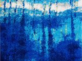 Bright Blue Shag Rug Rugs area Rugs Blue Vibrant Shaggy Carpet Abstract Painting Modern Shag Rug