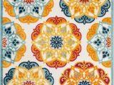 Bright Colored Floral area Rugs Dorado Bright Cabo Floral Gold orange Blue Indoor Outdoor area Rug