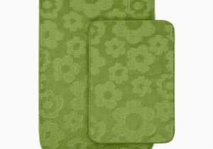 Bright Green Bath Rugs Garland Rug Flowers Lime Green 20 In X 30 In Washable