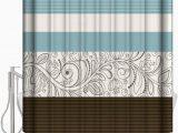 Brown and Blue Bathroom Rugs Amazon Leotear Shower Curtain Set with Bath Rug Flroal