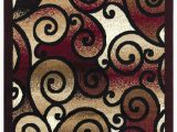 Brown and Maroon area Rugs Princess Collection Geometric Swirl Abstract area Rug 806 Burgundy & Black – Beverly Rug