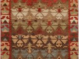 Brown and Rust Colored area Rugs Nomadic Caucasian Design Rust Brown Light Green and Blue