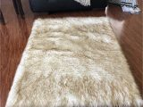 Brown Faux Fur area Rug Lambzy Faux Sheepskin Super soft Hypoallergenic Square area Rug Plush Fur Luxury Shaggy Silky Plush Carpet for Bedrooms Rugs Living Room Kids Rooms