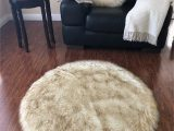 """Brown Faux Fur area Rug Super soft Faux Sheepskin Rug Eclipse White with Brown Tips 3 6"""" Round Walmart"""