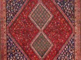"Burgundy and Blue area Rugs E Of A Kind Tadi Traditional Ghashghaei Shiraz Persian Hand Knotted 4 8"" X 6 1"" Wool Blue Burgundy Beige area Rug"