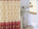 Burgundy Bath Rugs and towels Burgundy 18 Piece Bathroom Set 2 Rugs Mats 1 Fabric Shower Curtain 12 Fabric Covered Rings 3 Pc Decorative towel Set